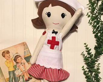 Little Miss Nurse Nora 18 inch fabric doll for nurses, nurse doll, handmade ragdoll in red and white nurse outfit