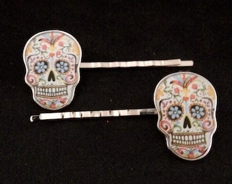 Pair Of Silver Metal Hair Pins Featuring Colorful Day Of The Dead Skulls