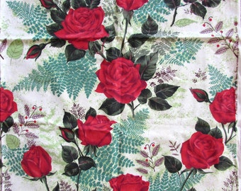 "Vintage American Rose Society Fabric - upholstery cotton 31"" x 47"" Rose New Yorker by Riverdale Fabric 50s-60s"