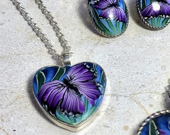 Purple Butterfly Heart Pendant