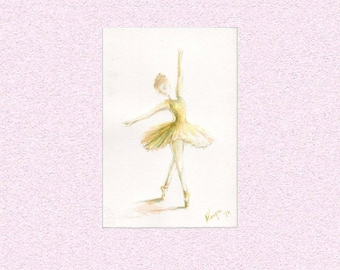 Watercolor painting Ballerina in yellow dress with turquoise shadows Dancing girl art - ballet points Original Artwork