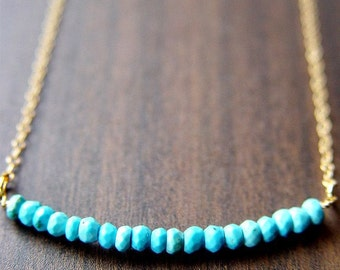 Turquoise Rondelle Gold Necklace