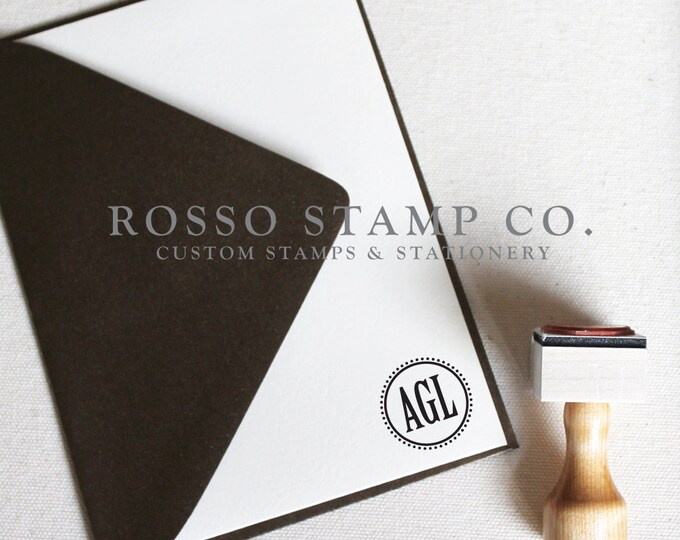 Featured listing image: Monogram Stamp, Wedding Monogram Stamp, Custom Stamp - Style No. 8
