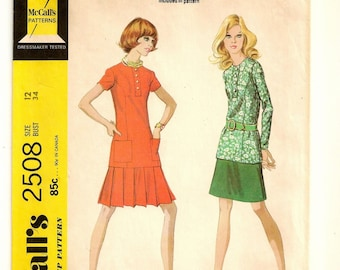 """A Two-Piece Dress Pattern for Women: Long/Short Sleeve Long Top and Low Pleated or A-Line Skirt - Uncut -  Size 12, Bust 34"""" • McCall's 2508"""