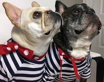 French Bulldog Frenchie Cotton Pullover Navy and White Striped  TShirt