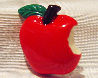 Red Apple Pin-Costume Jewelry-Cute Vintage-First Bite