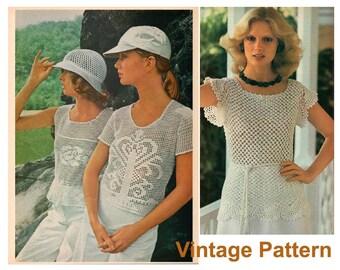 Crochet Pattern - Three Vintage 1970s Women Top PDF Patterns - Instant Download