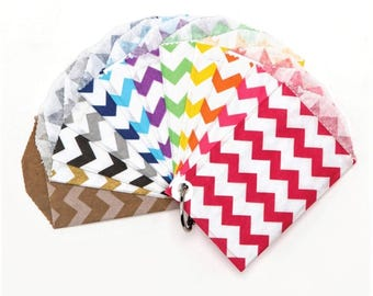 "25 Small Chevron Paper Treat Bags or Favor Bags . Choose from 12 Colors . 2.75"" x 4"""