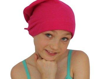 Jaye Children's Flannel Head Cover, Girl's Cancer Headwear, Chemo Scarf, Alopecia Hat, Head Wrap, Cancer Gift for Hair Loss - Pink