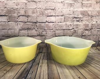 2 Vintage Pyrex Verde Green Nesting Mixing Bowls Mid Century Retro 473 474