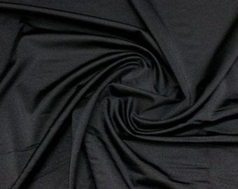 "Black - Plain Lycra Spandex Stretch Fabric Material - 150cm (59"") wide per metre / half"