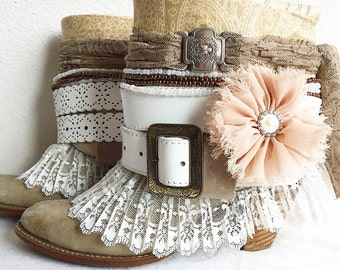 Upcycled Boho Boots, ReWorked Bohemian Boots, ReVamped Gypsy Boots, Upcycled Cowboy Boots