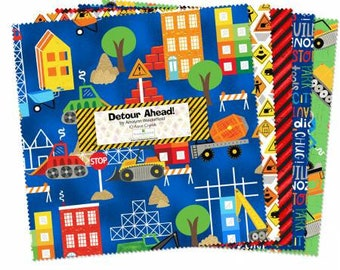 Detour Ahead 10 Inch Squares Layer Cake, 42 Pieces, Arrolynn Weiderhold, Wilmington Prints, Precut Fabric, Quilt Fabric, Vehicle Fabric