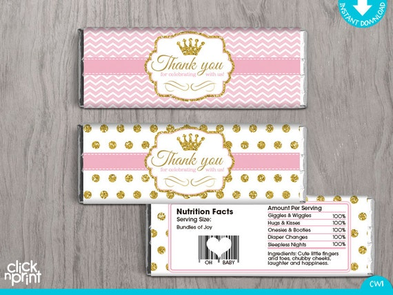 Baby Shower Pink And Gold Print Yourself Candy Bar Wrappers