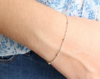 Delicate Sterling Silver Twisted Chain and Beads Bracelet, Dainty Bracelet, Minimalist, Stackable Bracelet