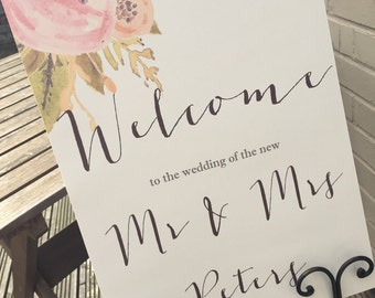 1 Personalised Rustic/Vintage/Shabby Chic A3 Watercolour Wedding Welcome Board-unbacked - FREE postage!