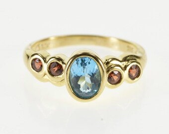 14K Oval Blue Topaz Garnet Inset Scalloped Design Ring Size 5.75 Yellow Gold