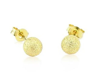 14K Yellow Gold Laser Cut Sparkle Finish Stud Earrings - 4mm, 5mm, 6mm OR 8mm Round - Minimalist Gold Earrings - Gift For Her - Kid's Gift