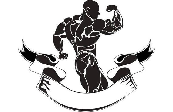 bodybuilding logo 11 bodybuilder banner flexing weightlifting rh etsy com weightlifting logs weight lifting log apps