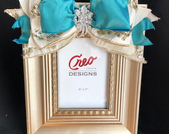Picture Frame with Bow / 5x7 Picture Frame /  Gold and Turquoise Ribbon Rhinestone Brooch