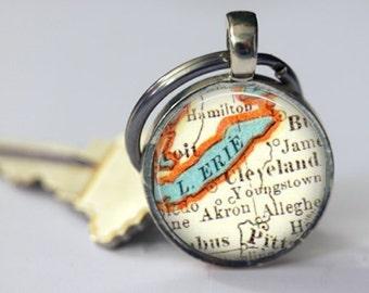Cleveland Ohio Gift for Men, Ohio keychain, Lake Erie, Photo Gift Mom or Father Gift, Custom Map Keychains, Customized Couple Keychain