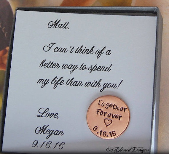 Groom Gift from Bride Love Notes Coin Together Forever