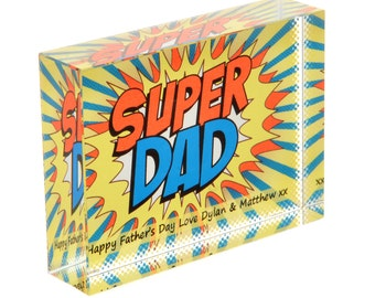 Personalised Super Dad Crystal - Superhero Dad - Comic Book Glass Block - Personalized Paperweight For Dad - Unique Father's Day Gift