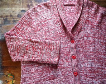 sale -- Vintage Cranberry Space Dye Cardigan Sweater