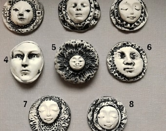 8 Black and White Grunge Polymer Clay Cabochons Molded Faces
