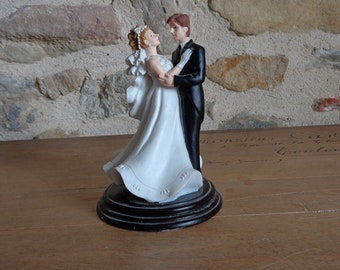 Large wedding cake topper with bride and groom, French cake decor, 6 inches tall