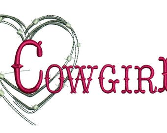 Embroidery Designs Barbed Wire Cowgirl Heart Cowgirl