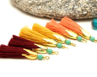 6 tassels handmade, 45 mm, Bordeaux, set of tassels tassels, Tassel earrings