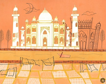 Taj Mahal Agra - Postcards From India - 11 by 14 Illustration Paper Collage Art Print (Signed)