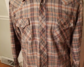 FREE  SHIPPING   1960  Wool  Plaid  Western  Shirt