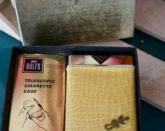 Rolfs Yellow Cigarette Case with Lizard