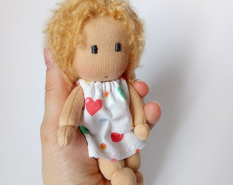 5inch waldorf pocket doll,  waldorf doll, cloth doll, rag doll, fabric doll, soft doll, eco friendly gift fo kids
