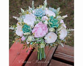Wedding bouquet succulent bouquet Clay bouquet flowers bridal bouquet alternative bouquet keepsake eucalyptus Peonies Greenery wedding pink
