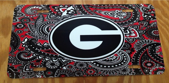 Uga Georgia Bulldogs Red Black Paisley Metal Car Tag