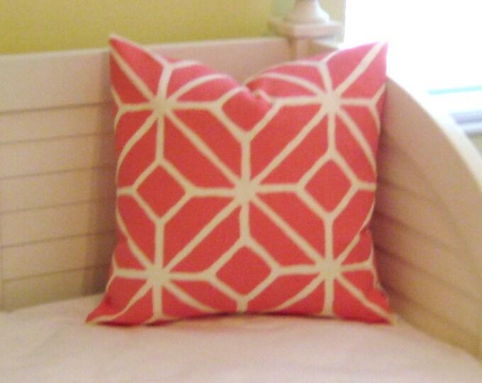 Schumacher Trina Turk Trellis in Watermelon on BOTH SIDES Indoor Outdoor Designer Pillow Cover