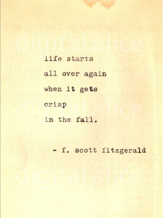 Amazing VINTAGE TYPEWRITER PRINT F Scott Fitzgerald Quote Wall Art