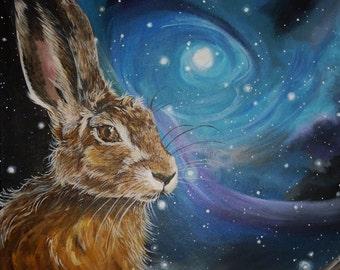 Night Hare Matt Greeting Card
