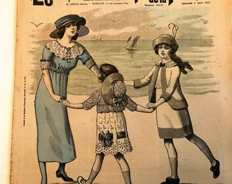 Vintage 1900's French Fashion Magazine Newspaper  Le Petit Echo de la Mode August 3, 1913 Mother and Little Girls Dance on the Beach