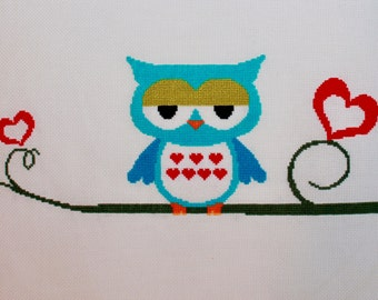 Cross Stitch of a Vibrant Owl - Can be personalized
