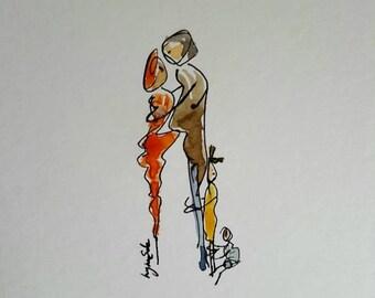 Hug Chain Watercolour illustration