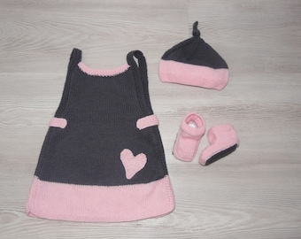 3 pieces set, LOUANNE dress, Cap, 1-3 months booties hand knitted