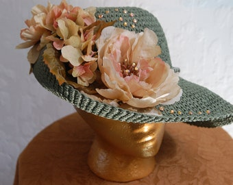 Green straw crystaled and flowered  Derby hat
