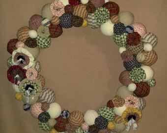 Large rag ball wreath primitive farmhouse country rustic