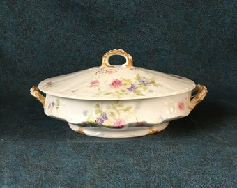 Antique Theodore Haviland Limoges Covered Vegetable Dish, Pink and Blue Flowers with Vine Finial