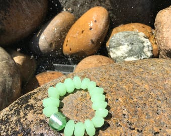 7 inch Elastic Apple Green Prehnite Bracelet Accented with a Apple Green Resin Bead