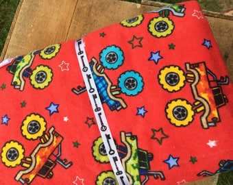 Monster Trucks, reversible Double layer flannel baby blanket. Ready to ship